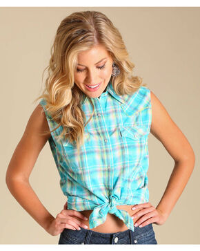 Wrangler Women's Sleeveless Plaid Two Pocket Shirt, Turquoise, hi-res