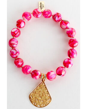 Everlasting Joy Jewelry Women's Flush Rose Gold Dangle Bracelet , Bright Pink, hi-res