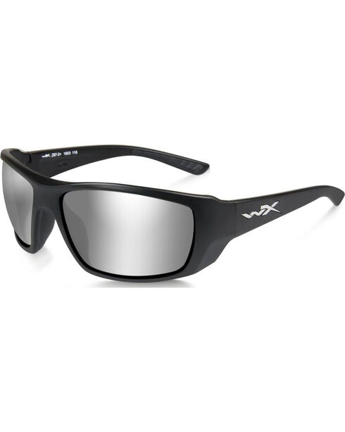Wiley X Kobe Silver Flash Matte Black Sunglasses, Black, hi-res