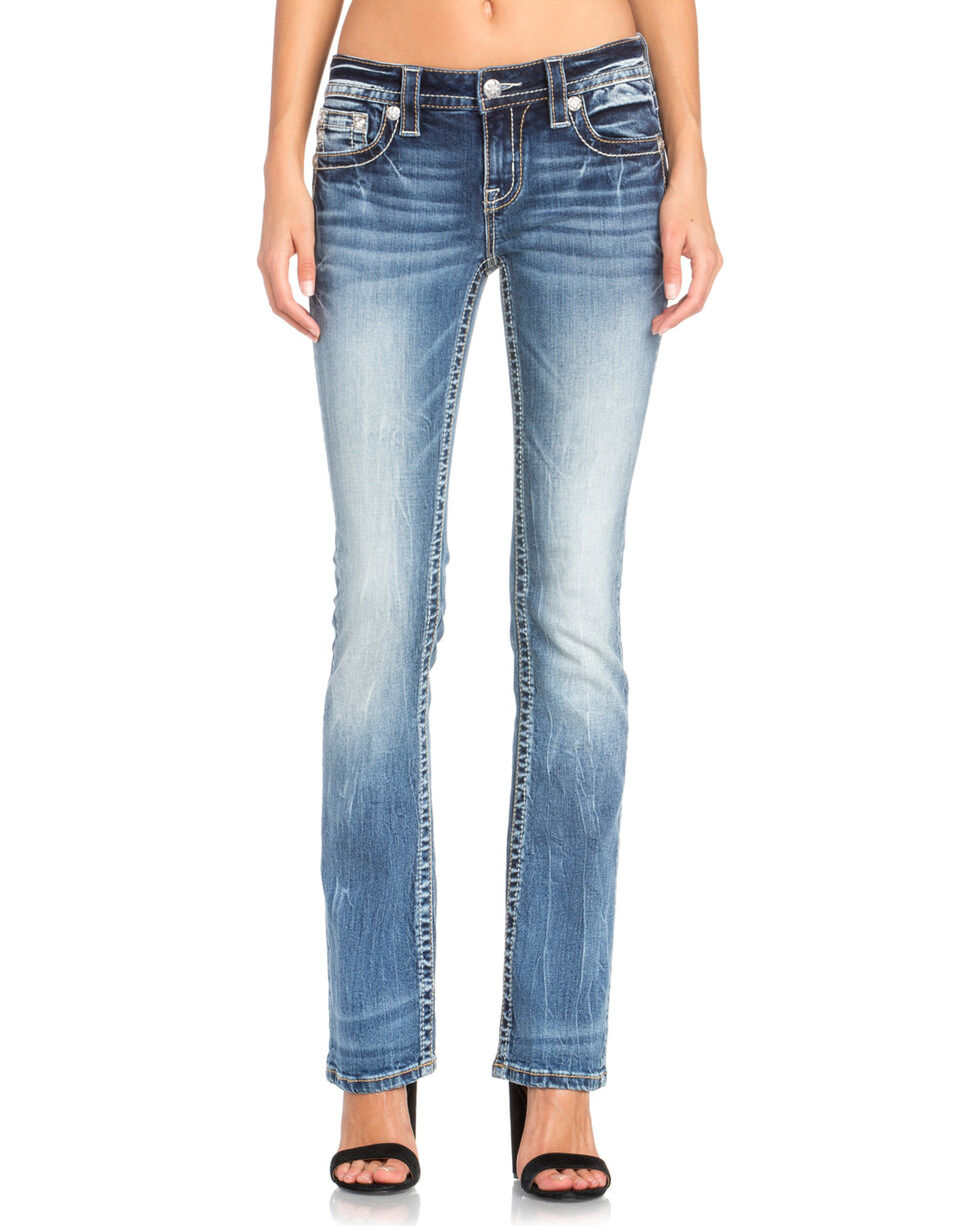 Miss Me Women's Studded Wing Slim Boot Cut Jeans, Indigo, hi-res