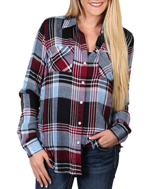 Shyanne® Women's Plaid Side Button Down Long Sleeve Shirt, Navy, hi-res