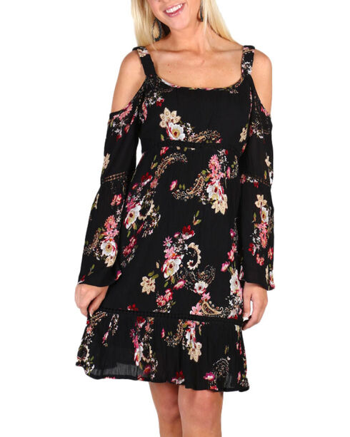 Bila Women's Floral Crochet Cold Shoulder Dress, Black, hi-res