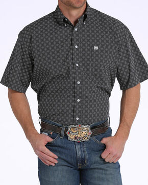 Cinch Men's Black Diamond Print Short Sleeve Button Down Shirt, Black, hi-res