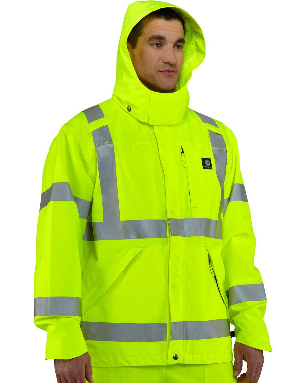 Carhartt Men's High Visibility Class 3 Waterproof Jacket, Lime, hi-res