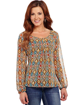 Cowgirl Up Long Sleeve Diamond Print Top , Print, hi-res