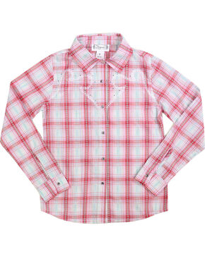 Shyanne Girl's Plaid and Floral Long Sleeve Western Shirt, Coral, hi-res