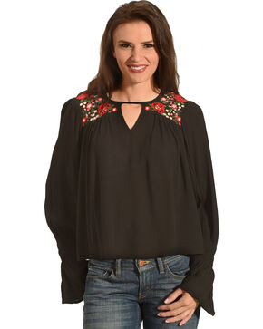 Derek Heart Women's Embroidered Long Sleeve Top, Black, hi-res