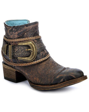 Corral Women's Floral Embossed Short Fashion Boots, Brown, hi-res