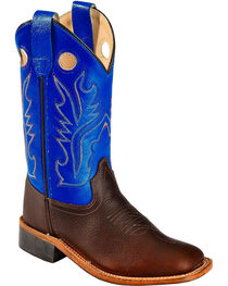 Cody James Boys' Brown/Blue Old West Cowboy Boots - Square Toe, , hi-res