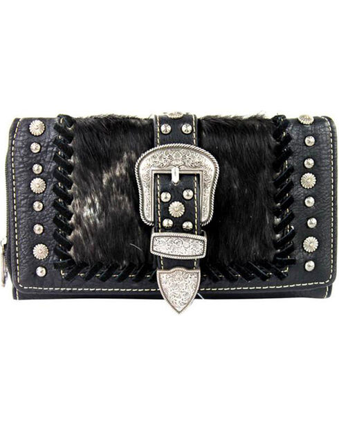 Shyanne Women's Faux Fur Tri-Fold Wallet, Black, hi-res