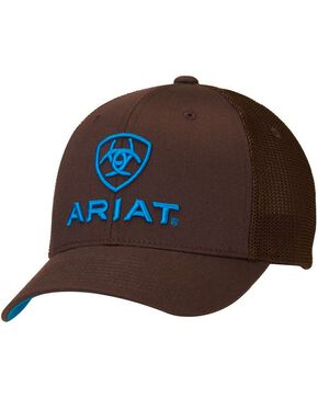 Ariat Men's Flex Fit Embroidered Logo Ball Cap, Brown, hi-res
