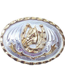 Western Express Men's Small Horsehead and Horseshoe Belt Buckle , , hi-res
