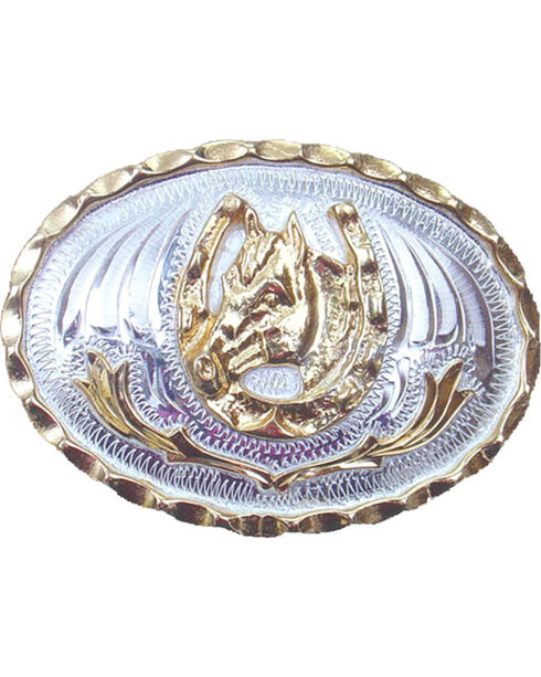 Western Express Men's Small Horsehead and Horseshoe Belt Buckle , Silver, hi-res