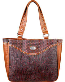 Montana West Trinity Ranch Floral Leaf Pattern Concealed Handgun Collection Handbag, Brown, hi-res