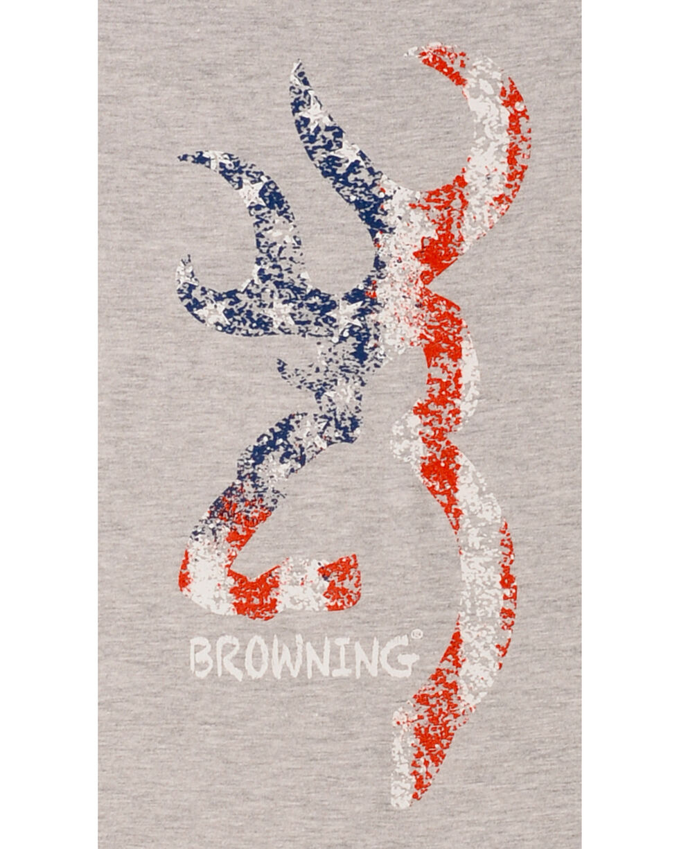 Browning Women's Heather Grey Chalky American Flag Buckmark T-Shirt , Hthr Grey, hi-res