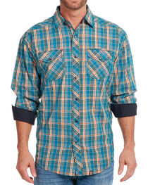 Cowboy Up Men's Plaid Long Sleeve Shirt, , hi-res