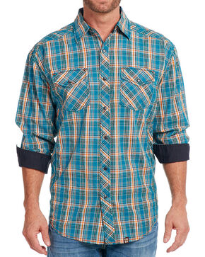 Cowboy Up Men's Plaid Long Sleeve Shirt, Turquoise, hi-res