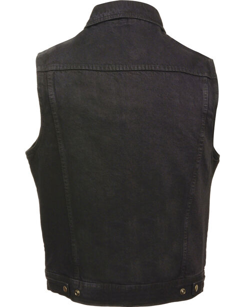 Milwaukee Leather Men's Snap Front Denim Vest w/ Shirt Collar- Big - 3X, , hi-res