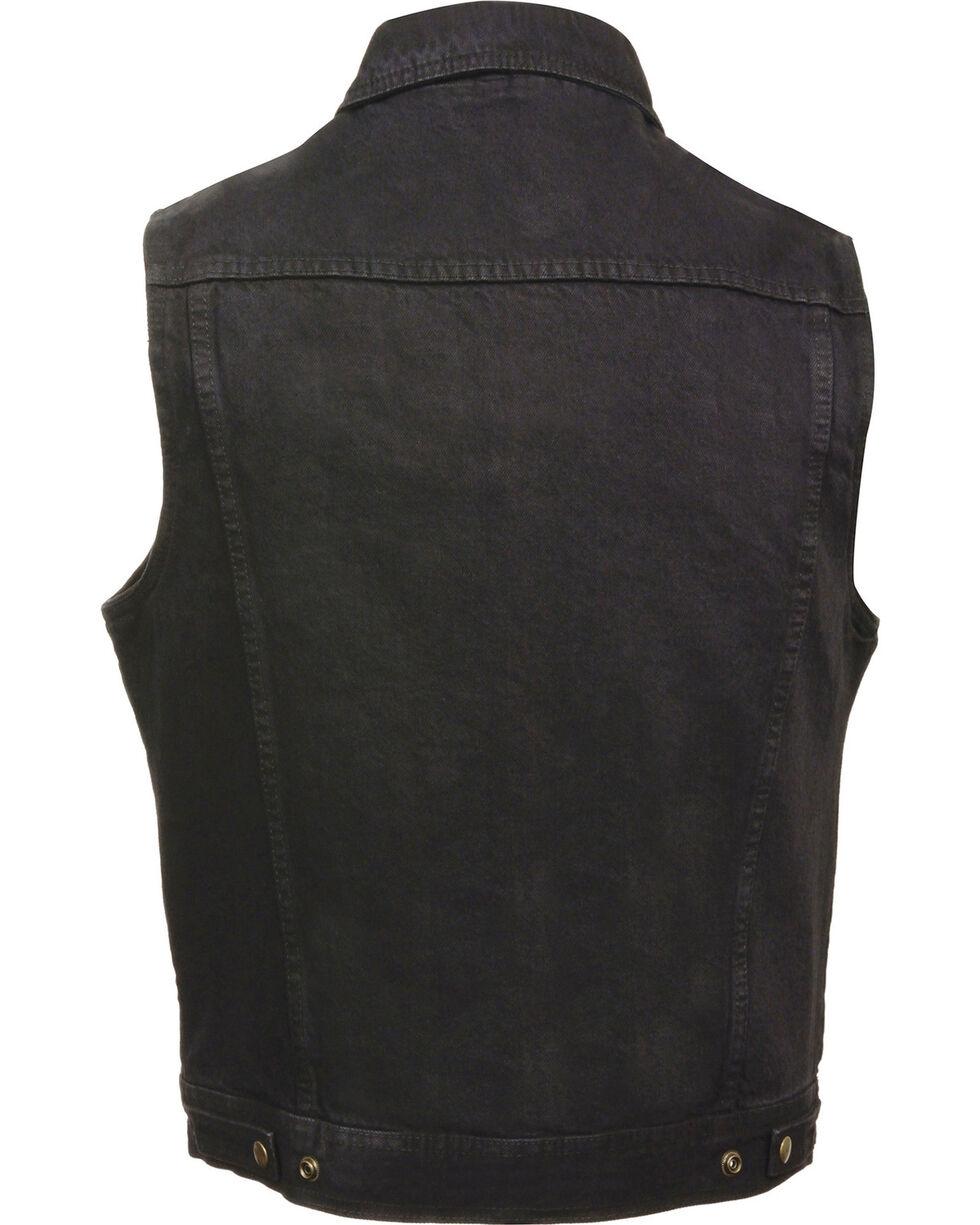 Milwaukee Leather Men's Snap Front Denim Vest w/ Shirt Collar- Big - 3X, , hi-res