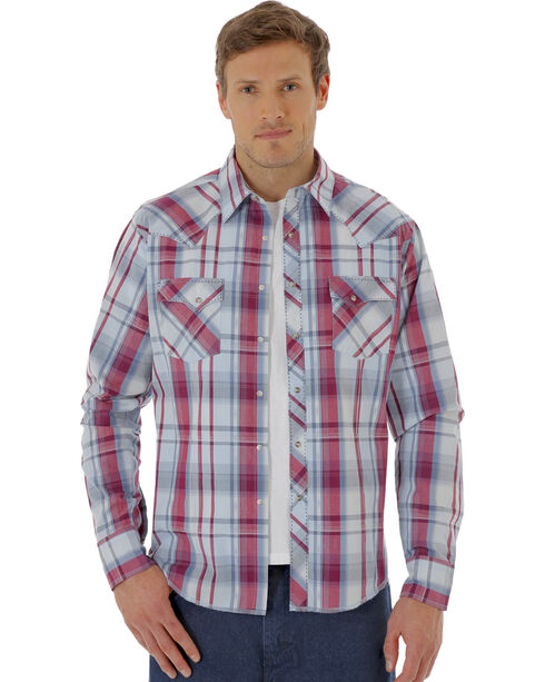 Wrangler Men's Plaid Long Sleeve Snap Western Shirt, Red, hi-res