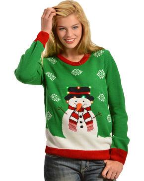 Lisa International Snowman Light Up Christmas Sweater, Green, hi-res