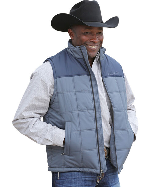 Cinch Men's Color Blocked Poly Fill Vest, Blue, hi-res