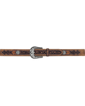 Tony Lama Men's Lubbock Lace Western Leather Belt, Brown, hi-res