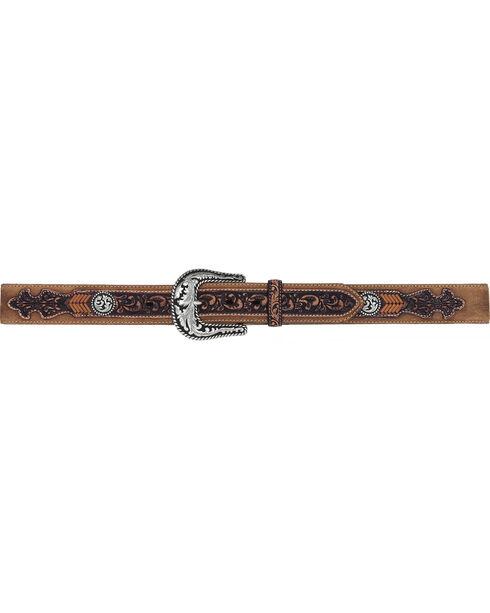 Tony Lama Men's Lubbock Lace Western Leather Belt, Brown, hi-res