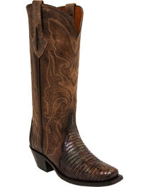 Lucchese Brown/Green Sasha Lizard Cowgirl Boots - Narrow Square Toe , , hi-res