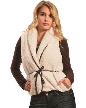 Derek Heart Women's Sherpa Belted Vest , Cream, hi-res
