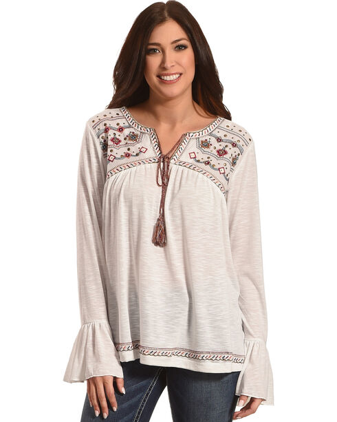 New Direction Sport Women's Ivory Embroidered Yoke Peasant Blouse , Ivory, hi-res