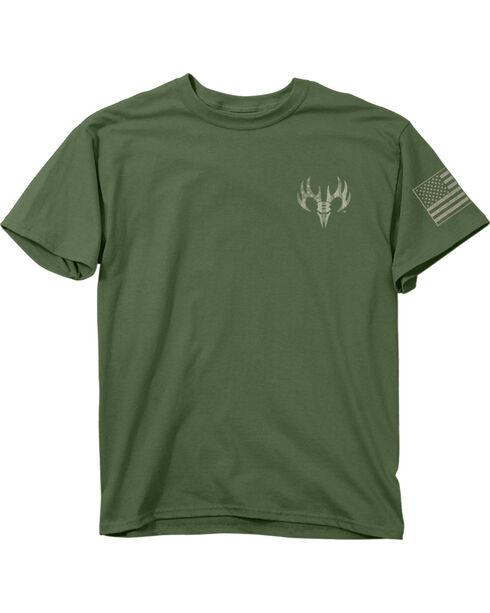 Buck Wear Men's Green Freedom Flag Short Sleeve Shirt , Hunter Green, hi-res