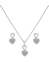 Montana Silversmiths Women's Double Heart Opal Jewelry Set, , hi-res