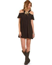 Jody of California Women's Black Cold Shoulder Micro Suede Dress , , hi-res