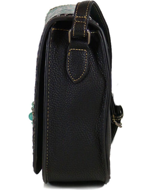Trinity Ranch Women's Tooled Design Collection Messenger Bag, Black, hi-res