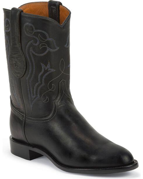 Tony Lama Men's 10' Roper Western Boots, Black, hi-res