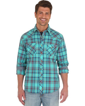 Wrangler Men's Teal Retro Long Sleeve Western Shirt , Teal, hi-res