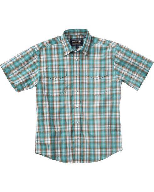 Rough Stock by Panhandle Boys' Evanston Ombre Plaid Shirt , Blue, hi-res