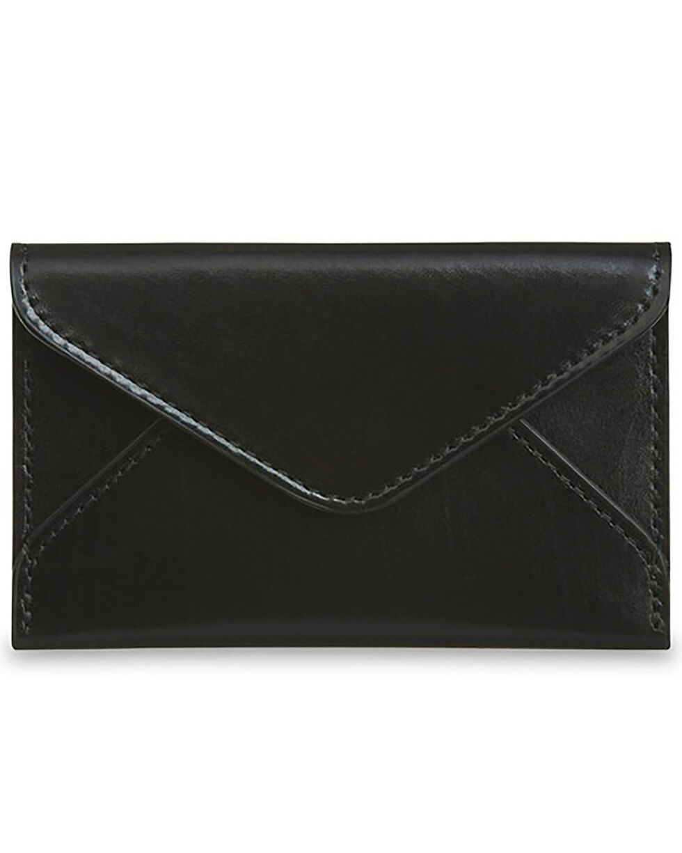 Lucchese Men's Black Leather Business Card Case, Black, hi-res