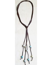 Jewelry Junkie Women's Lasso Necklace with Frosted Amazonite Accents, , hi-res