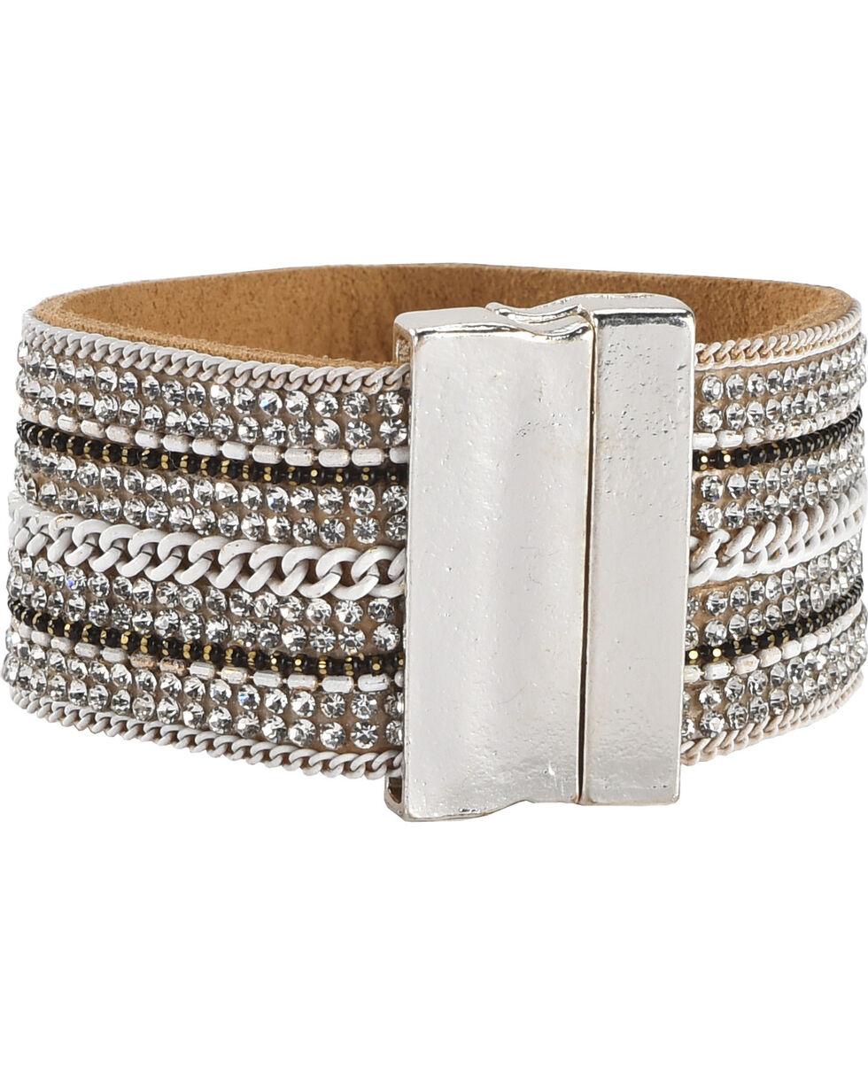 Shyanne® Women's Rhinestone & Chain Bracelet, Silver, hi-res