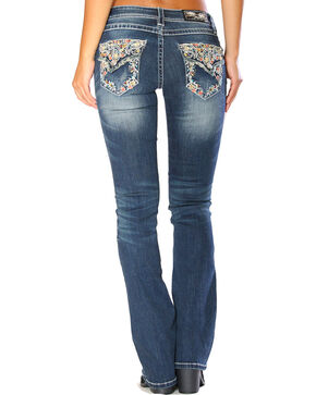 Grace in LA Women's Blue Floral Embroidered Flap Jeans - Boot Cut, Blue, hi-res
