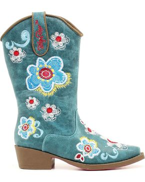 Blazin Roxx Girls' Sage Floral Embroidered Cowgirl Boots - Snip Toe, Turquoise, hi-res