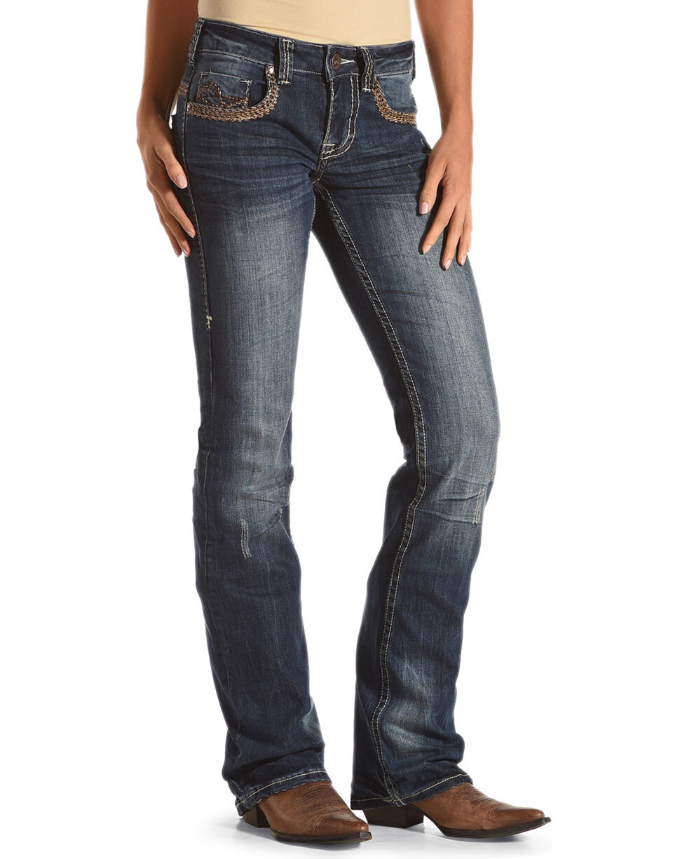 Cowgirl Tuff Women's Wild Wooly Rides Again Jeans , Blue, hi-res