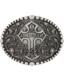 Montana Silversmiths Classic Oval Beaded Trim Cowboy Up Attitude Belt Buckle, Silver, hi-res