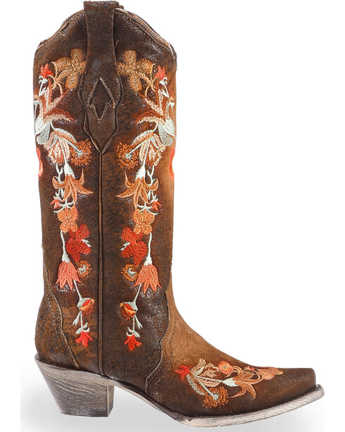 Corral Women's Floral Embroidered Lamb Leather Cowgirl Boots - Snip Toe, Chocolate, hi-res