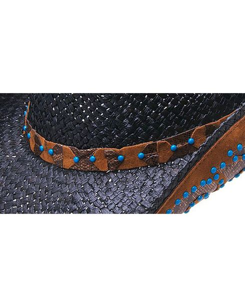 Peter Grimm Clay Faux Turquoise Studded Raffia Straw Cowboy Hat, Black, hi-res