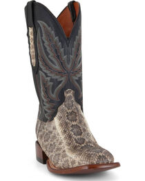 Lucchese Men's Rattlesnake and Calf Western Boots - Wide Square Toe  , , hi-res
