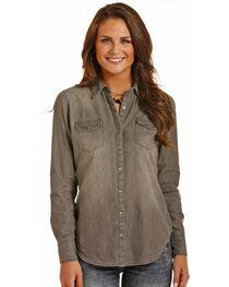Rock & Roll Cowgirl Women's Placement Wash Denim Shirt , , hi-res