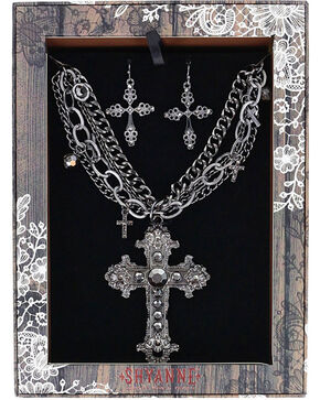 Shyanne® Women's Ornate Cross Jewelry Set, Silver, hi-res